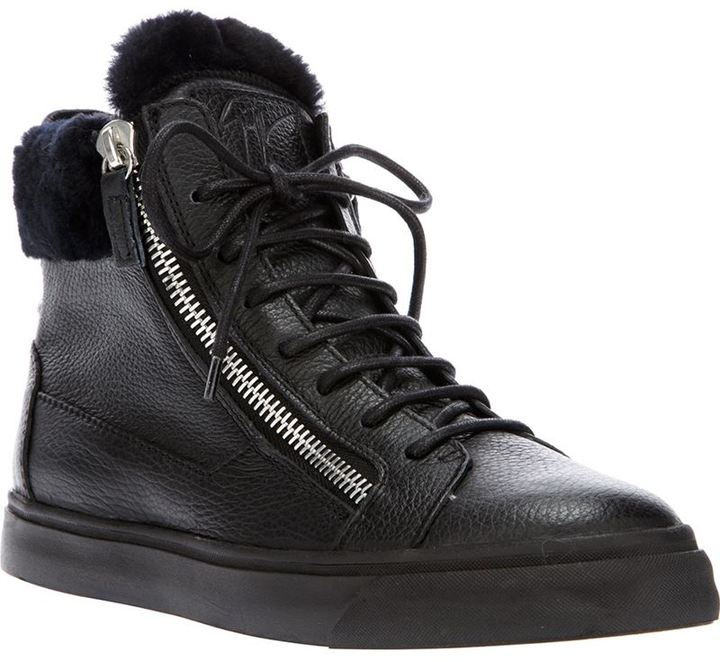 Giuseppe Zanotti Design shearling panel hi-top sneakers