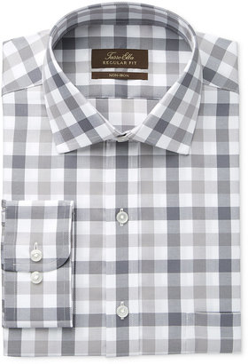Tasso Elba Men's Classic-Fit Non-Iron Gray Mega Gingham Dress Shirt, Only at Macy's $69.50 thestylecure.com