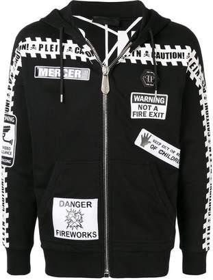 Philipp Plein caution warning zip-up jacket