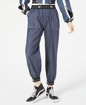Waisted Cotton Denim Jogger Pants