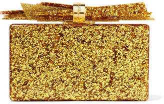 Edie Parker Wolf Glittered Acrylic Box Clutch - Gold