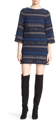 Women's Alice + Olivia 'Evelina' Bell Sleeve Tweed Shift Dress $495 thestylecure.com
