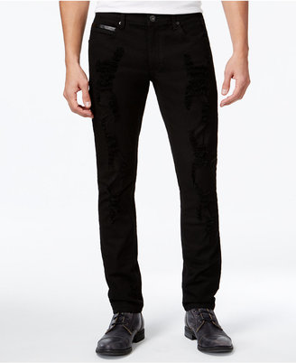 INC International Concepts Men's Destructed Faux-Leather Trim Skinny Jeans, Only at Macy's $79.50 thestylecure.com