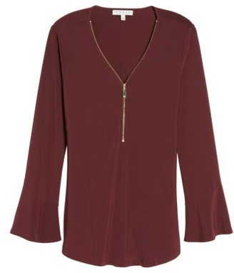 Women's Chaus Zip Front Flounce Sleeve Top $59 thestylecure.com