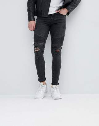 New Look Super Skinny Biker Jeans With Rips In Black