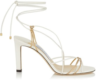Jimmy Choo TAO 85 Latte and Metallic Gold Nappa Leather Sandal with Spaghetti Straps