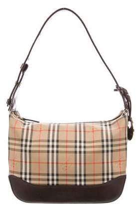 Burberry Leather-Trimmed Horseferry Check Shoulder Bag