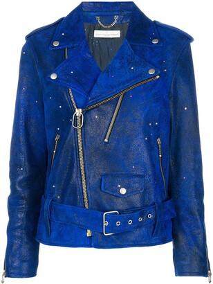 Golden Goose crystal-embellished biker jacket