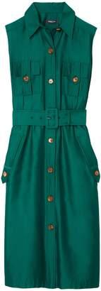Derek Lam Sleeveless Utility Shirt Dress in Kelly Green