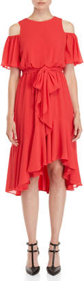 Eliza J Cold Shoulder Flutter Sleeve Dress