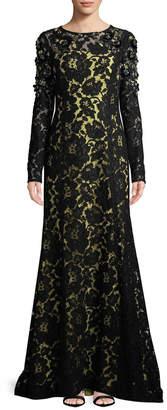 Oscar de la Renta Floral Lace Gown