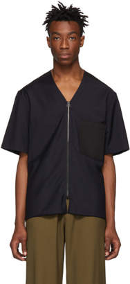 Lanvin Navy Wool Zipped Shirt