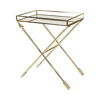 Laurèl Kate and Madeira Arrow Metal Accent Table with Mirrored Tray Top