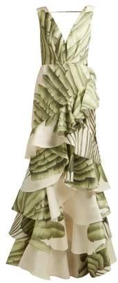 Johanna Ortiz Coconut Palm Leaf Print Silk Organza Gown - Womens - Ivory Multi