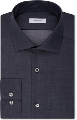 Calvin Klein Steel Men Slim-Fit Non-Iron Performance Spread Collar Herringbone Dress Shirt