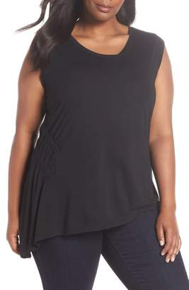 Sejour Sleeveless Ruched Asymmetrical Top
