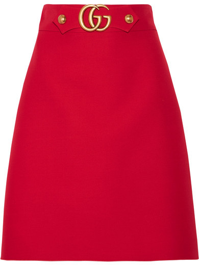 Gucci - Embellished Wool And Silk-blend Skirt - Red