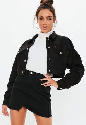 Missguided Petite Black Contrast Stitch Faux Suede Trucker Jacket