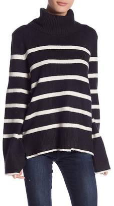 Romeo & Juliet Couture Striped Oversized Turtleneck Knit Sweater