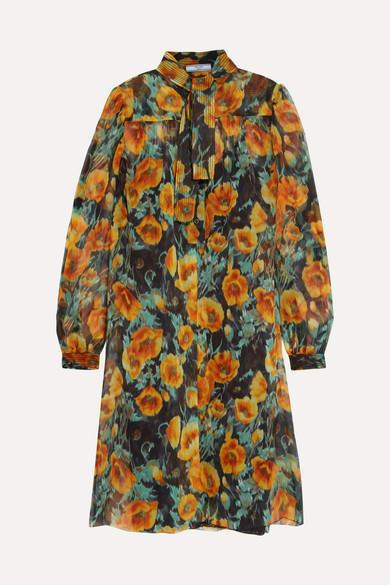 Prada - Floral-print Silk-crepon Mini Dress - Orange
