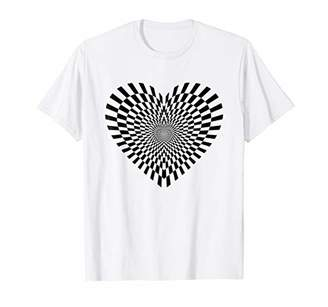 Psychedelic Optical Illusion Art Funky Heart T-Shirt