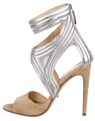 Jerome C. Rousseau Metallic Cutout Sandals