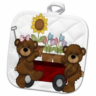 3dRose Cute Brown Teddy Bears With A Wheelbarrow Full Of Potted Flowers - Pot Holder, 8 by 8-inch