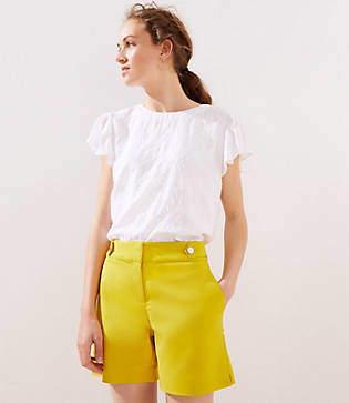 LOFT Button Waist Tab Riviera Shorts with 6 Inch Inseam