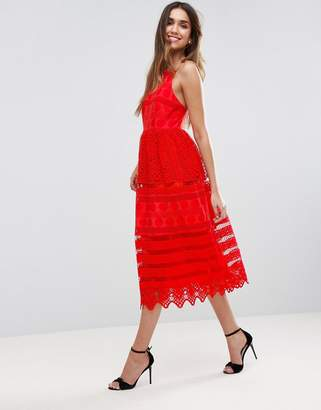 ASOS PREMIUM Broderie Midi Prom Dress with Low Back $135 thestylecure.com