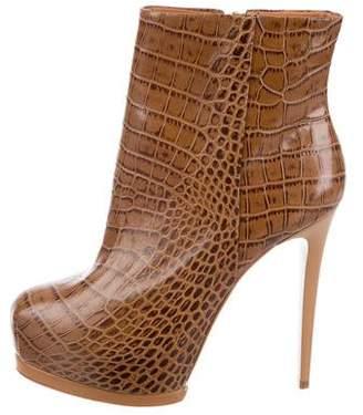 Pour La Victoire Embossed Ankle Boots