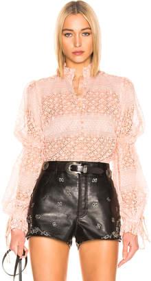 Jonathan Simkhai Mixed Knit Lace Mock Neck Bodysuit in Cherry Blossom | FWRD