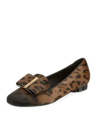 Salvatore Ferragamo Leopard-Print Fur Bow Loafers