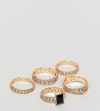 Aldo Umilawia chain stacking rings in black and gold