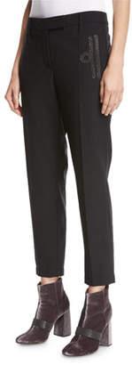 Brunello Cucinelli Monili-Scroll Cropped Wool-Blend Trousers