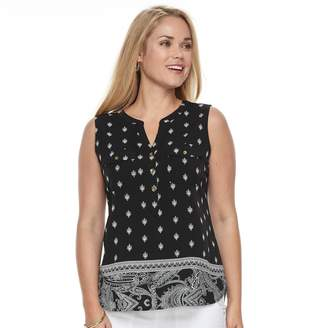 Croft & Barrow Petite Sleeveless Henley Top