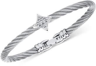 Charriol White Topaz Bangle Bracelet (5/8 ct. t.w.) in Stainless Steel