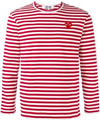 Comme des Garcons striped heart logo top