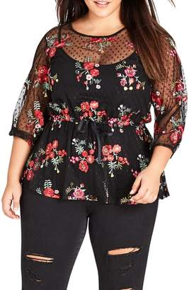 City Chic Embroidered Dot Mesh Top