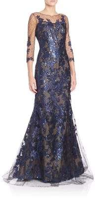 Rene Ruiz Floral Lace Applique Gown