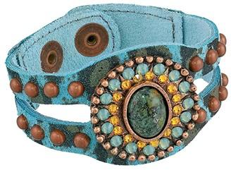 Leather Rock Ember Bracelet