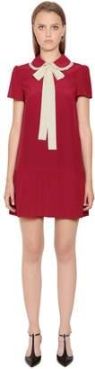RED Valentino Bow Collar Silk Crepe De Chine Dress