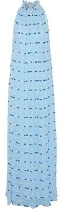 Vionnet Tulle-Trimmed Silk-Blend Fil Coupé Georgette Maxi Dress