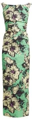 Miu Miu Floral Print Silk Blend CloquA Dress - Womens - Green Print