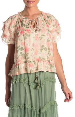 Love Sam Floral Tie Neck Blouse