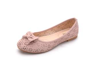Mila Louise Lady Perforated Laser Cut Ballerlina Chic Flats Shoes W/Bow (Dina2)