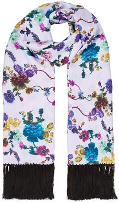 Klements Delores Hand Tasselled Silk Twill Scarf In Gothic Floral Print Iced Lilac