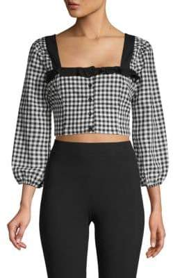BCBGeneration Gingham Cropped Top