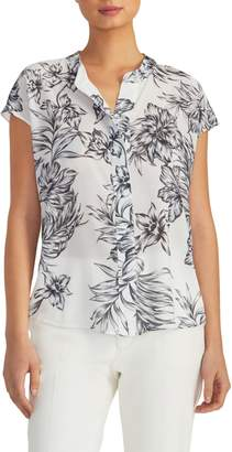 Rachel Roy Collection Easy Placket Floral Top