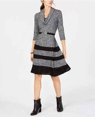 Robbie Bee Petite Belted Cowl-Neck Sweater Dress