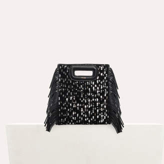 Maje Mini M bag in leather with sequins